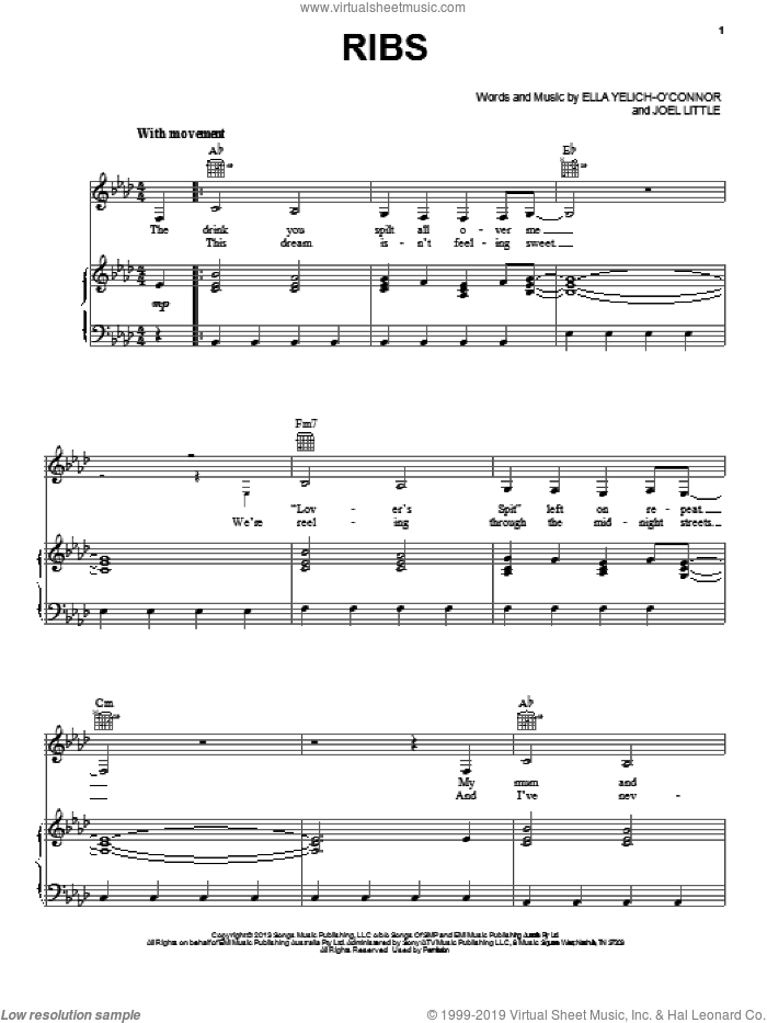 Ribs sheet music for voice, piano or guitar by Lorde, intermediate skill level