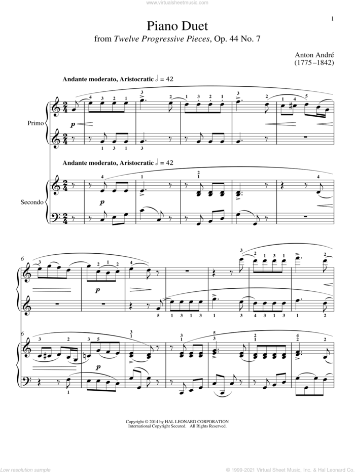 Piano Duet sheet music for piano four hands by Bradley Beckman and Carolyn True, classical score, intermediate skill level