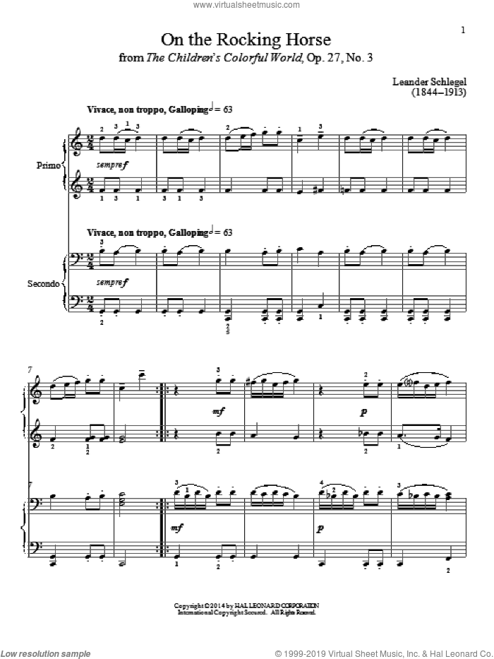 On The Rocking Horse sheet music for piano four hands by Bradley Beckman and Carolyn True, classical score, intermediate skill level