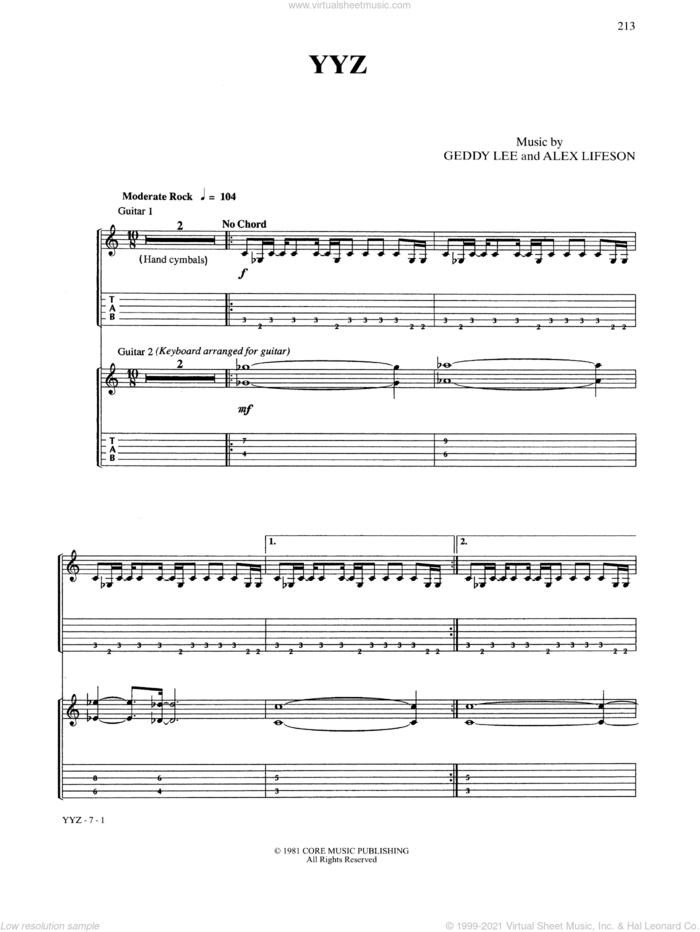 YYZ sheet music for guitar (tablature) by Rush, intermediate skill level