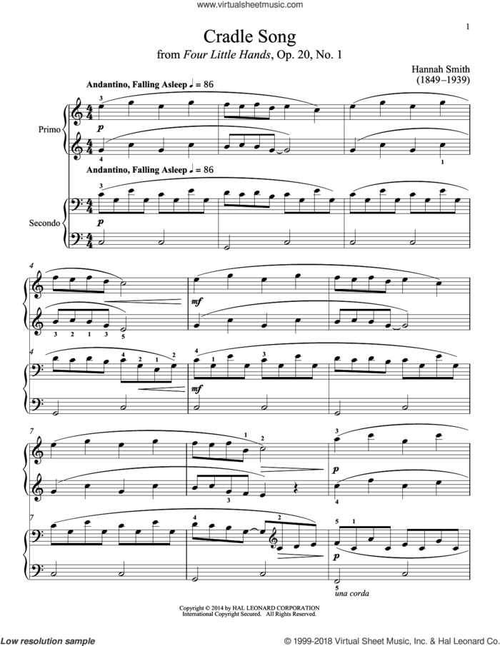 Cradle Song sheet music for piano four hands by Bradley Beckman and Carolyn True, classical score, intermediate skill level