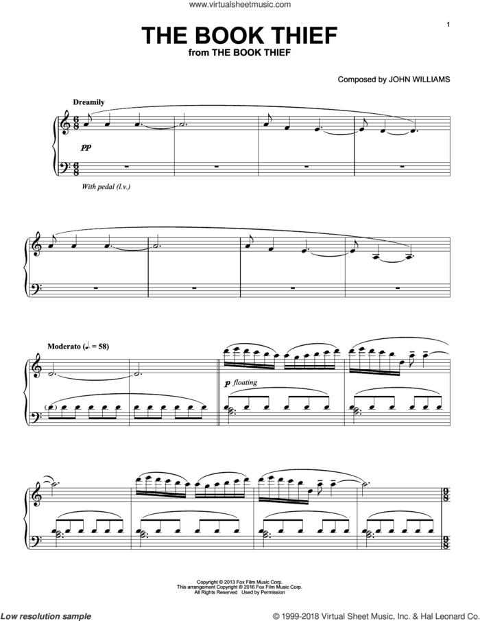 The Book Thief, (intermediate) sheet music for piano solo by John Williams, intermediate skill level