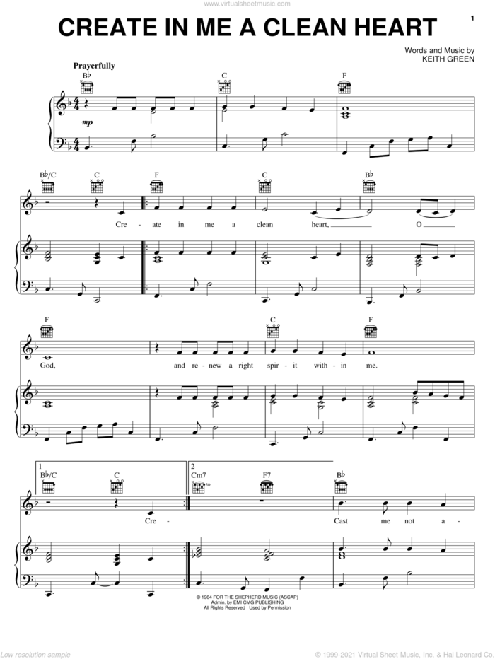 Create In Me A Clean Heart sheet music for voice, piano or guitar by Keith Green, intermediate skill level