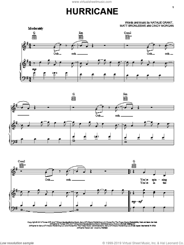 Hurricane sheet music for voice, piano or guitar by Natalie Grant, intermediate skill level
