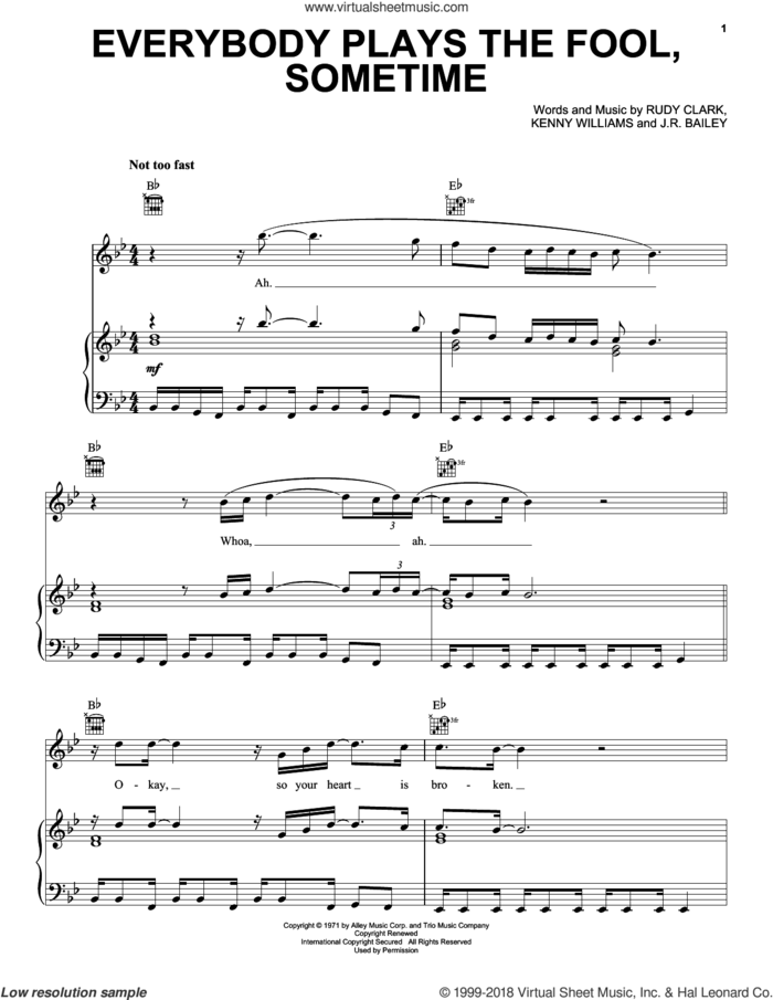 Everybody Plays The Fool, Sometime sheet music for voice, piano or guitar by The Main Ingredient, intermediate skill level