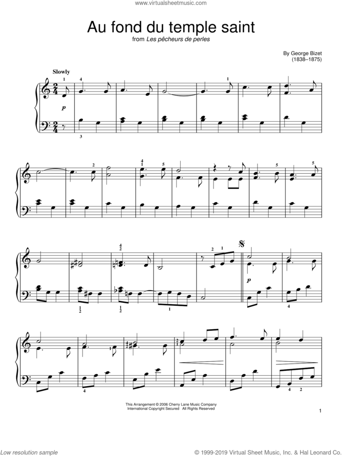 Au Fond Du Temple Saint sheet music for piano solo by Georges Bizet, classical score, easy skill level