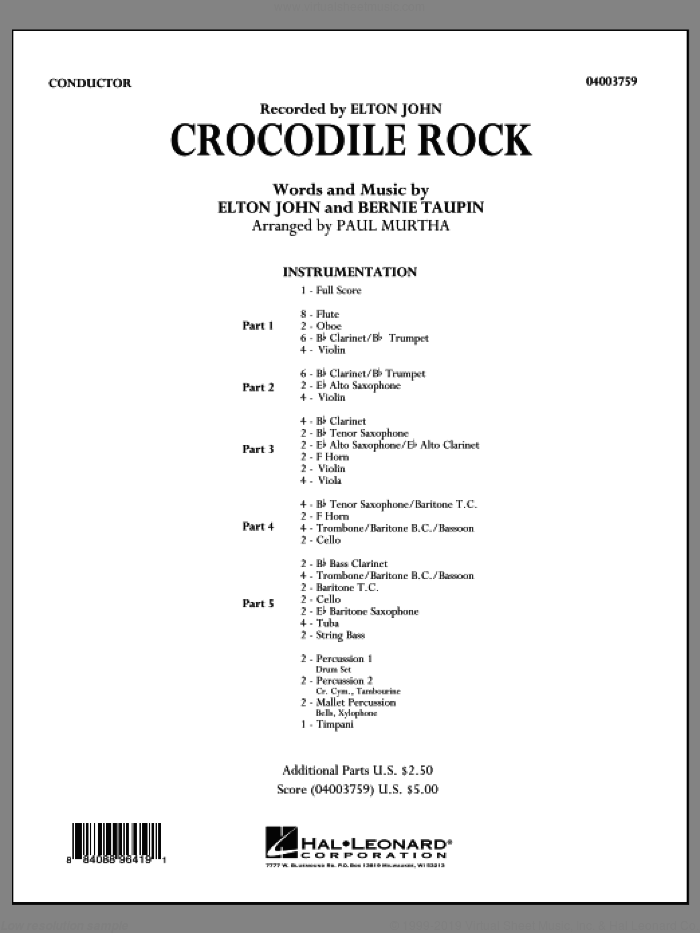 Crocodile Rock (COMPLETE) sheet music for concert band by Elton John and Paul Murtha, intermediate skill level
