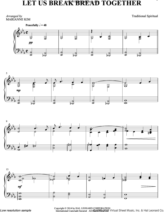 Let Us Break Bread Together sheet music for piano solo by Marianne Kim and Miscellaneous, intermediate skill level
