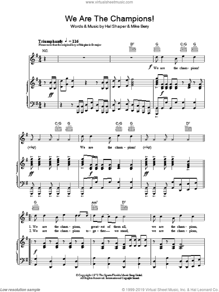 We Are The Champions sheet music for voice, piano or guitar by The Combined Supporters Club, Hal Shaper and Mike Berry, intermediate skill level