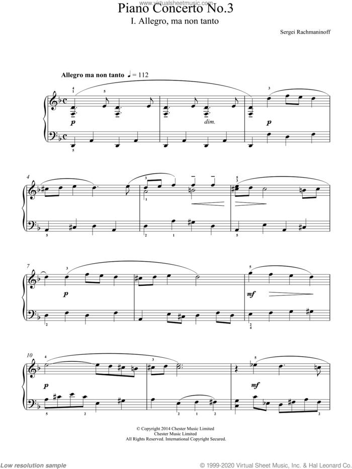 Piano Concerto No.3 - 1st Movement, (easy) sheet music for piano solo by Serjeij Rachmaninoff, classical score, easy skill level