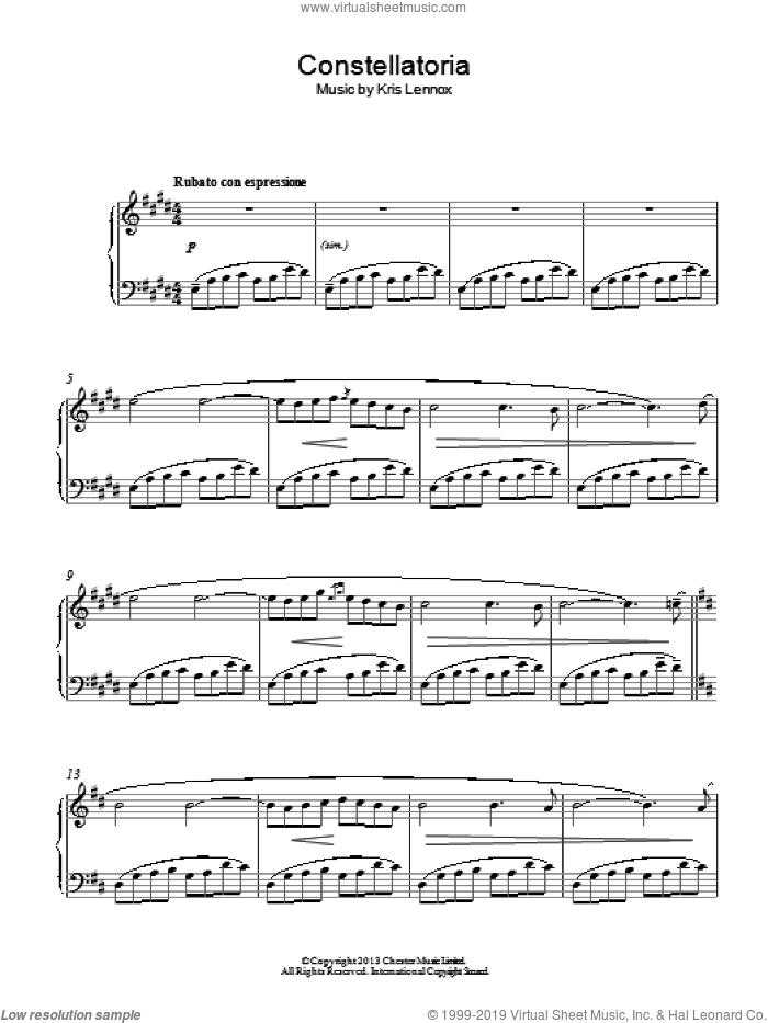 Constellatoria sheet music for piano solo by Kris Lennox, classical score, intermediate skill level
