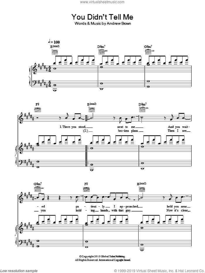 You Didn't Tell Me sheet music for voice, piano or guitar by LAWSON and Andrew Brown, intermediate skill level