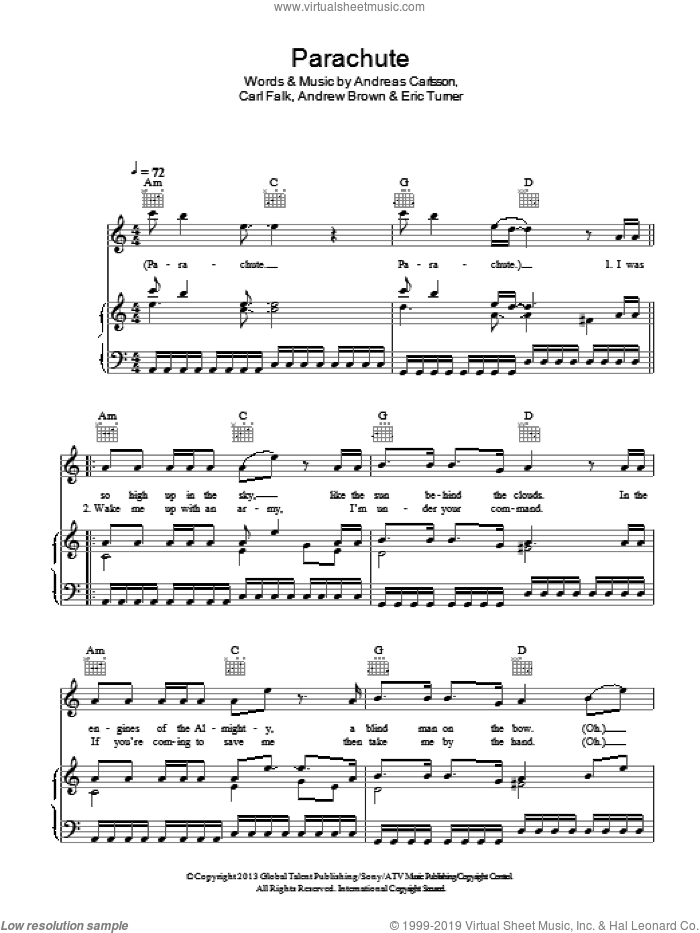 Parachute sheet music for voice, piano or guitar by LAWSON, Andreas Carlsson, Andrew Brown, Carl Falk and Eric Turner, intermediate skill level