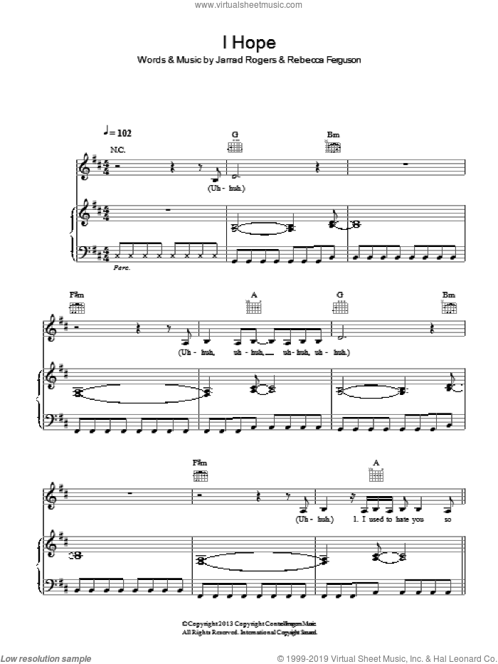 I Hope sheet music for voice, piano or guitar by Rebecca Ferguson and Jarrad Rogers, intermediate skill level