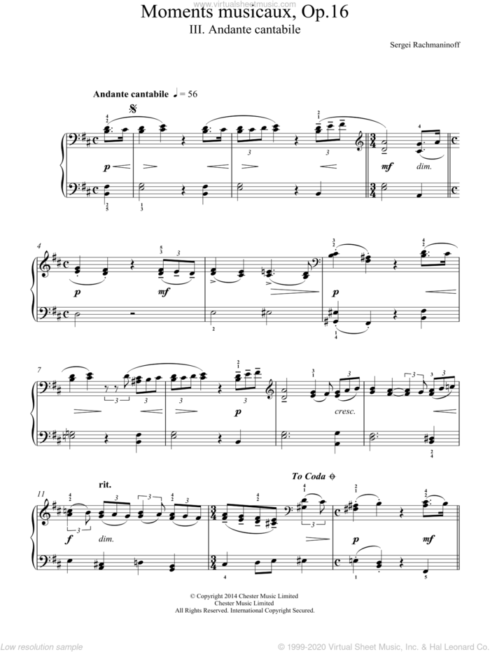 Moments musicaux Op.16, No.3 Andante cantabile sheet music for piano solo by Serjeij Rachmaninoff, classical score, easy skill level