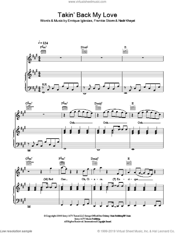 Takin' Back My Love sheet music for voice, piano or guitar by Enrique Iglesias, Frankie Storm and Nadir Khayat, intermediate skill level