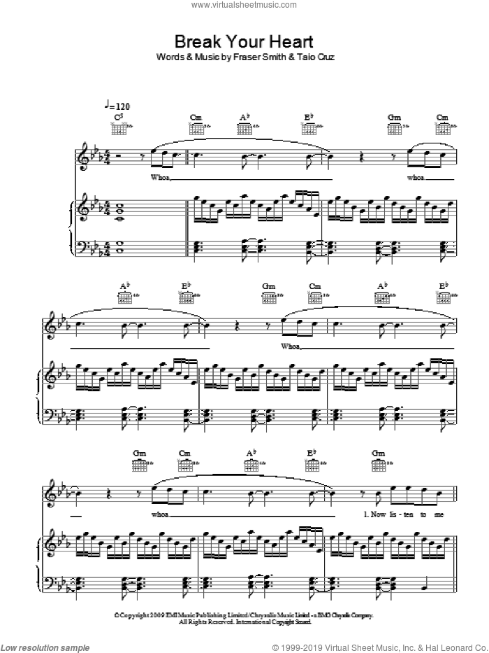 Break Your Heart sheet music for voice, piano or guitar by Taio Cruz and Fraser T. Smith, intermediate skill level