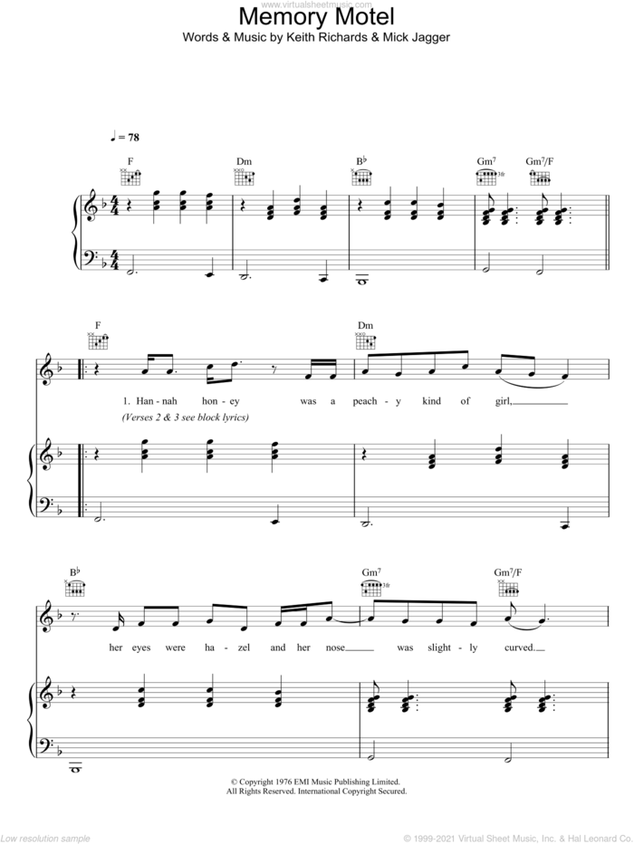Memory Motel sheet music for voice, piano or guitar by The Rolling Stones, Keith Richards and Mick Jagger, intermediate skill level