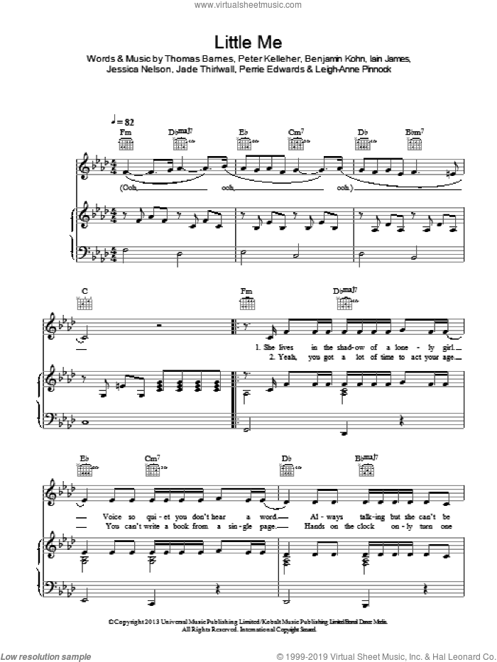 Little Me sheet music for voice, piano or guitar by Little Mix, Benjamin Kohn, Iain James, Jade Thirlwall, Jessica Nelson, Leigh-Anne Pinnock, Perrie Edwards, Peter Kelleher and Thomas Barnes, intermediate skill level