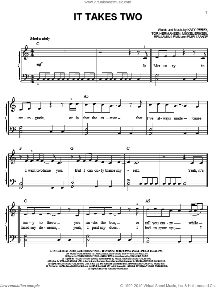 It Takes Two sheet music for piano solo by Katy Perry, easy skill level