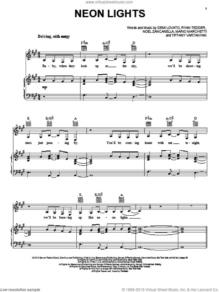 Neon Lights sheet music for voice, piano or guitar by Demi Lovato, intermediate skill level