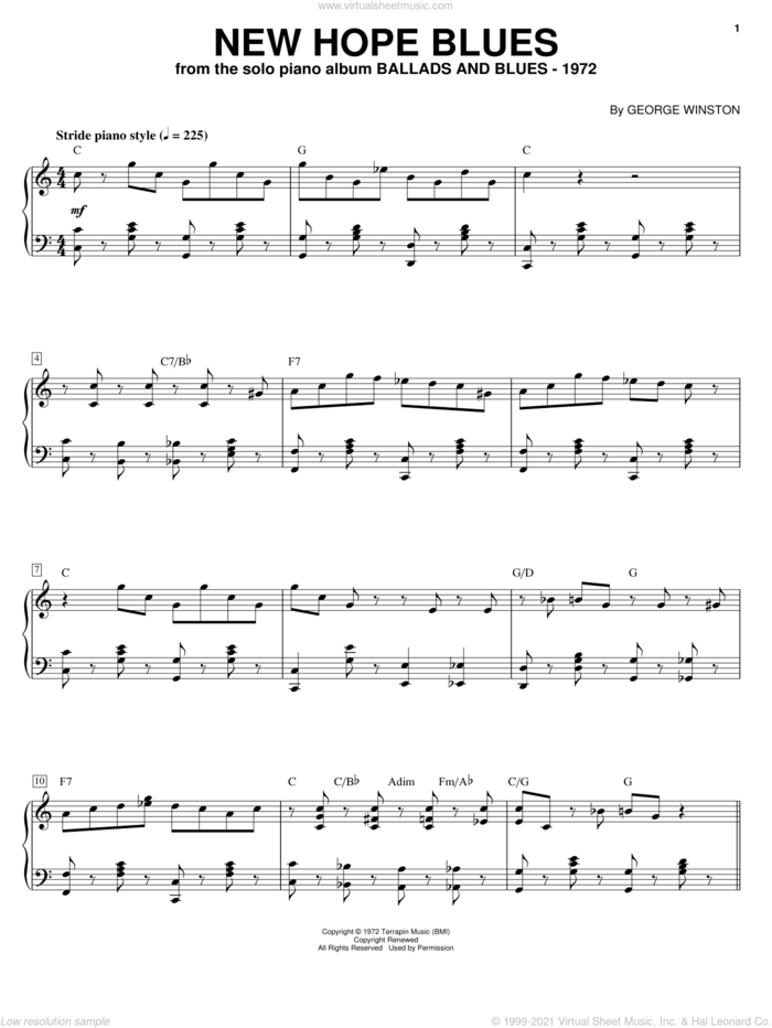 New Hope Blues sheet music for piano solo by George Winston, intermediate skill level