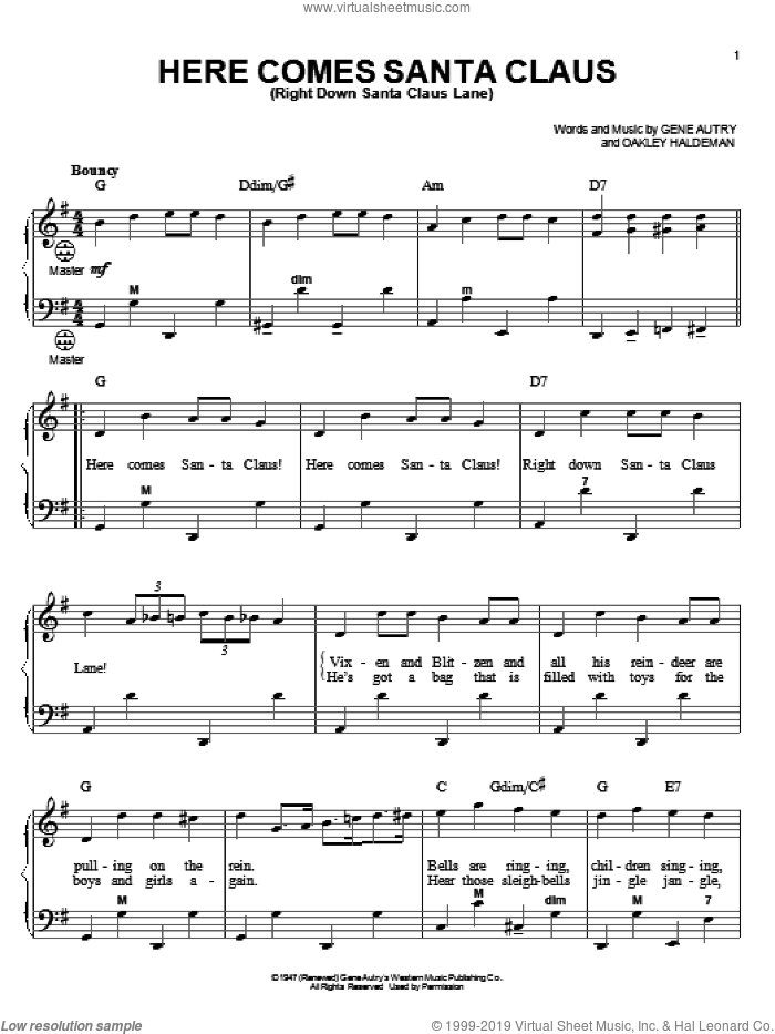 Here Comes Santa Claus (Right Down Santa Claus Lane) sheet music for accordion by Gene Autry, Gary Meisner and Oakley Haldeman, intermediate skill level