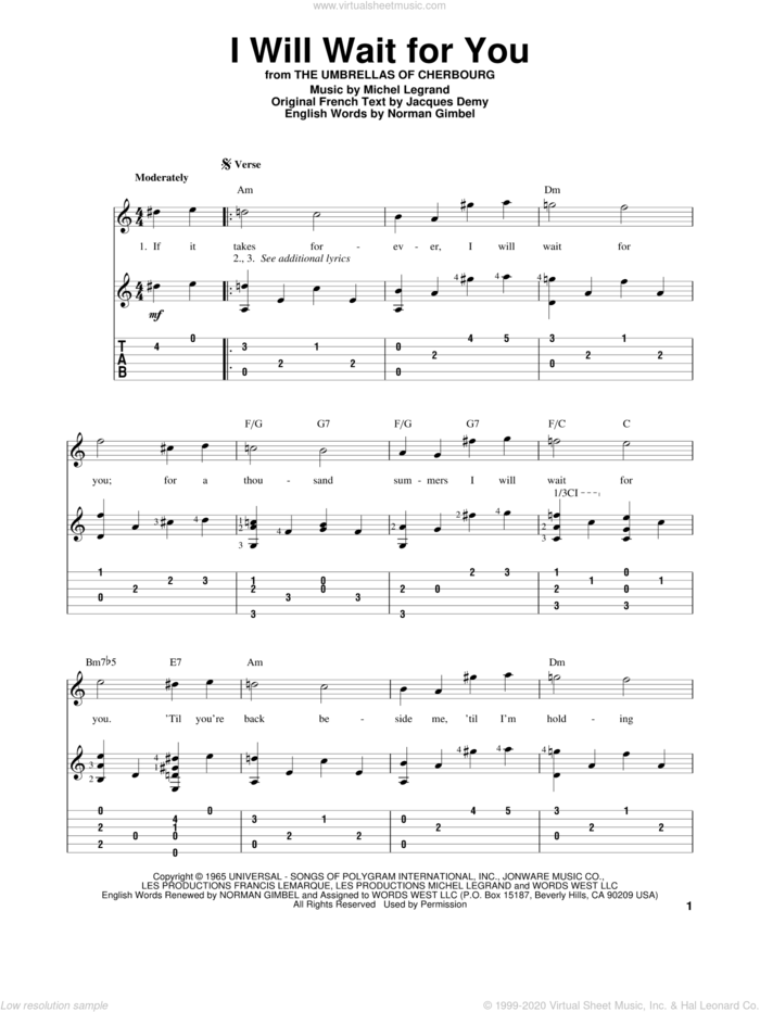 I Will Wait For You sheet music for guitar solo by Norman Gimbel, Jacques Demy and Michel LeGrand, intermediate skill level