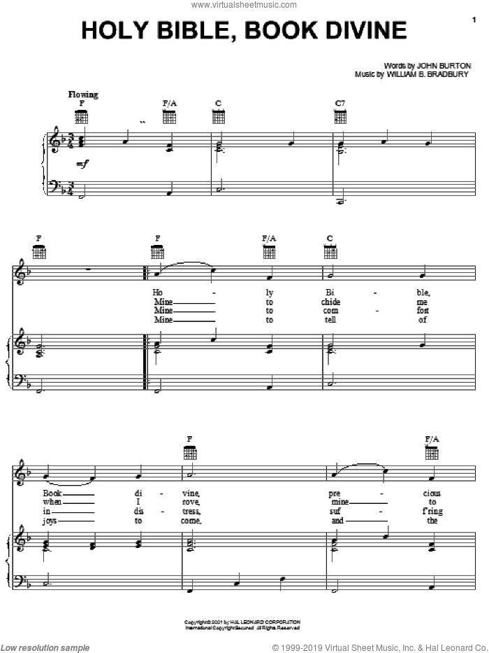 Holy Bible, Book Divine sheet music for voice, piano or guitar by John Burton and William B. Bradbury, intermediate skill level