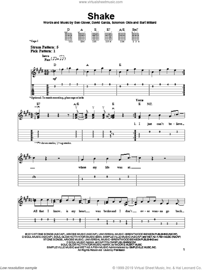 Shake sheet music for guitar solo (easy tablature) by MercyMe, Bart Millard, Ben Glover, David Garcia and Solomon Olds, easy guitar (easy tablature)