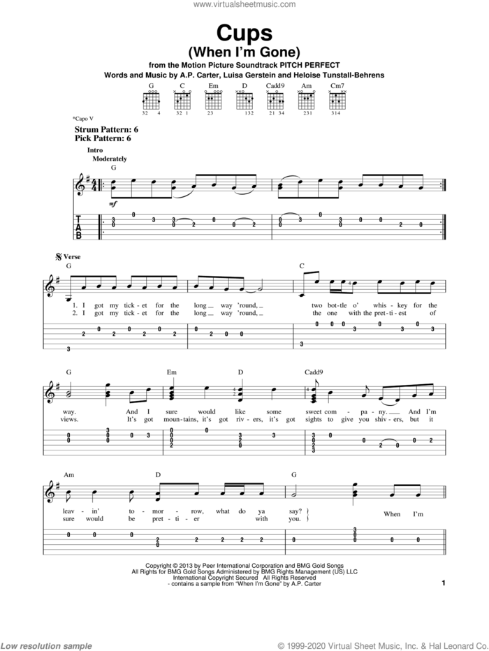 Cups (When I'm Gone) sheet music for guitar solo (easy tablature) by Anna Kendrick, easy guitar (easy tablature)