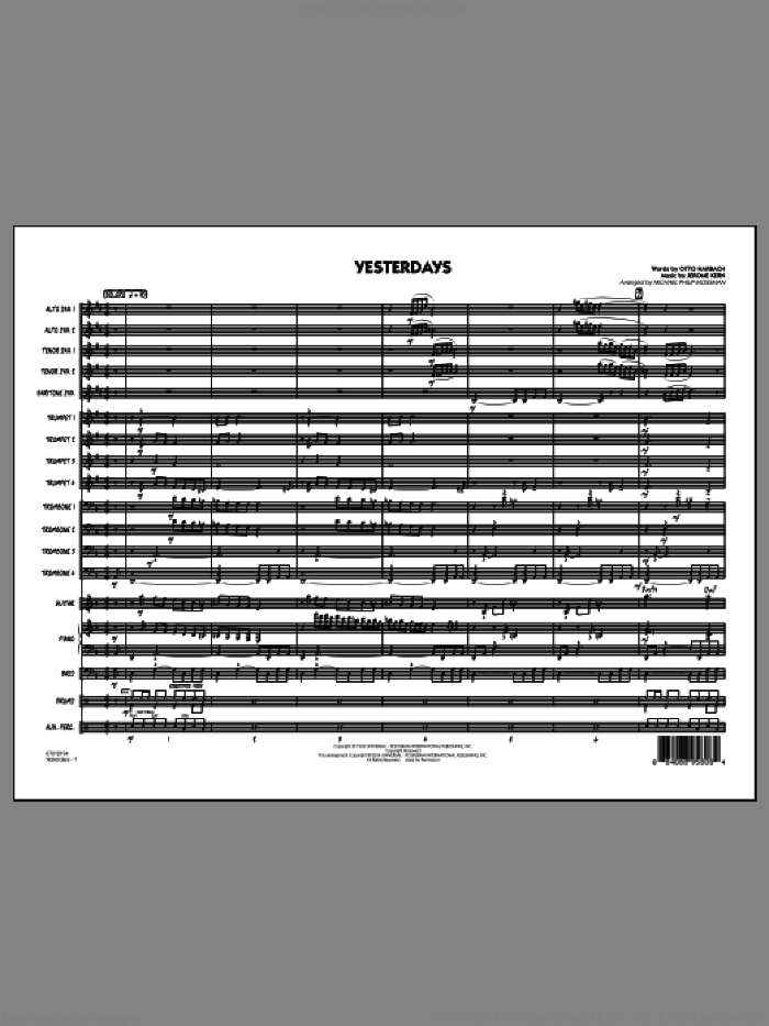 Yesterdays (COMPLETE) sheet music for jazz band by Jerome Kern, Michael Philip Mossman and Otto Harbach, intermediate skill level