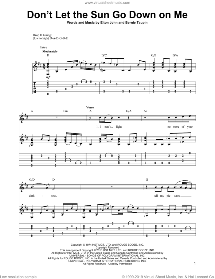 Don't Let The Sun Go Down On Me sheet music for guitar solo by Elton John & George Michael and Elton John, intermediate skill level