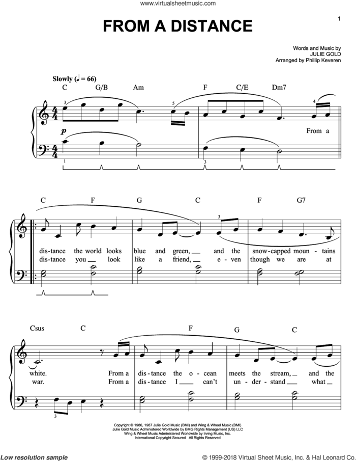 From A Distance sheet music for piano solo by Phillip Keveren, Bette Midler and Julie Gold, easy skill level