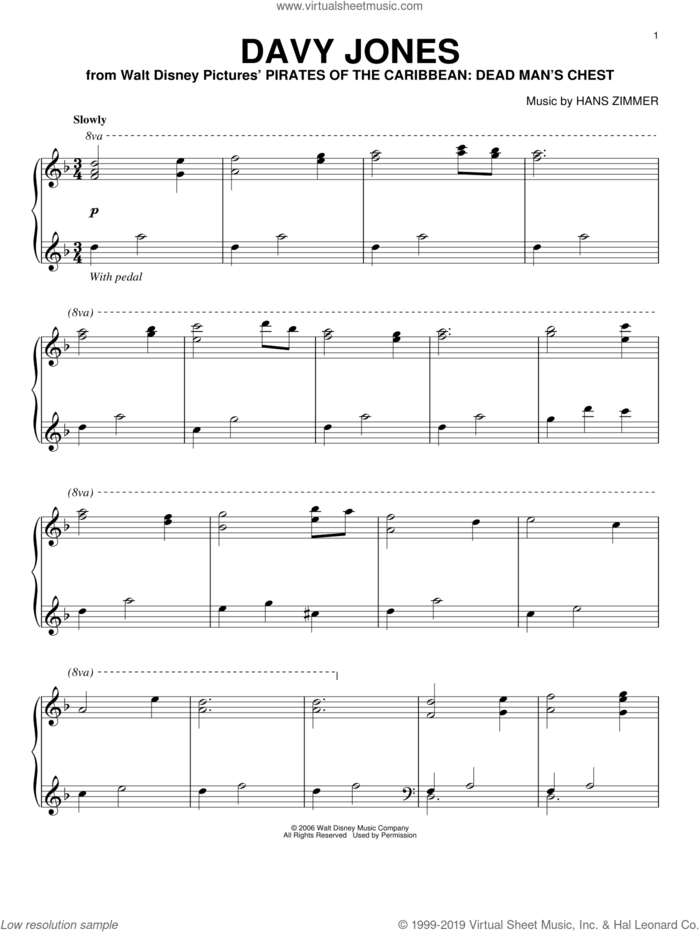 Davy Jones (from Pirates Of The Caribbean: Dead Man's Chest) sheet music for piano solo by Hans Zimmer, intermediate skill level
