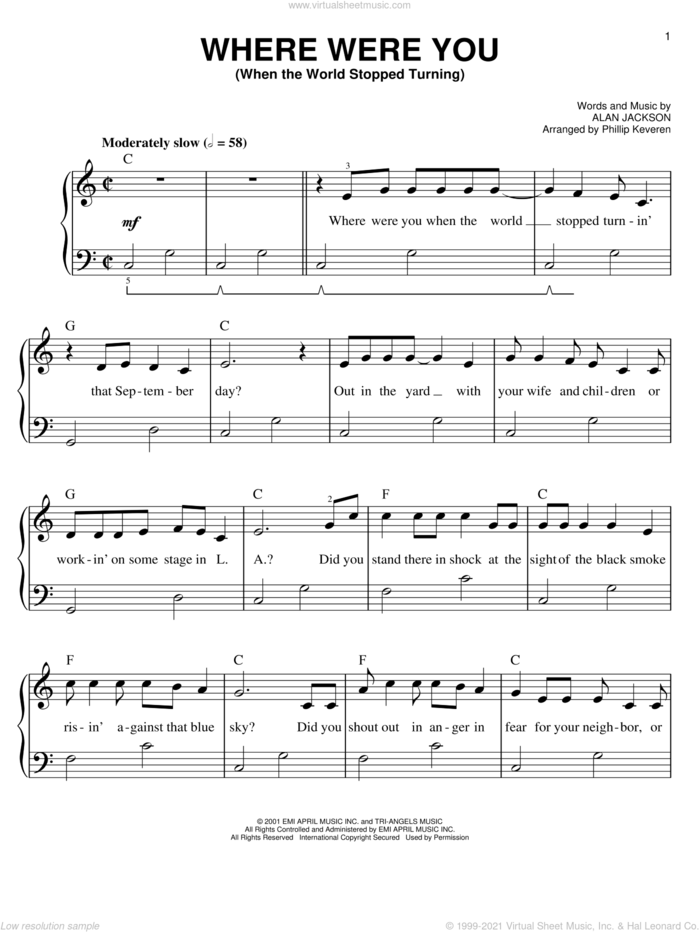 Where Were You (When The World Stopped Turning) (arr. Phillip Keveren) sheet music for piano solo by Phillip Keveren and Alan Jackson, easy skill level