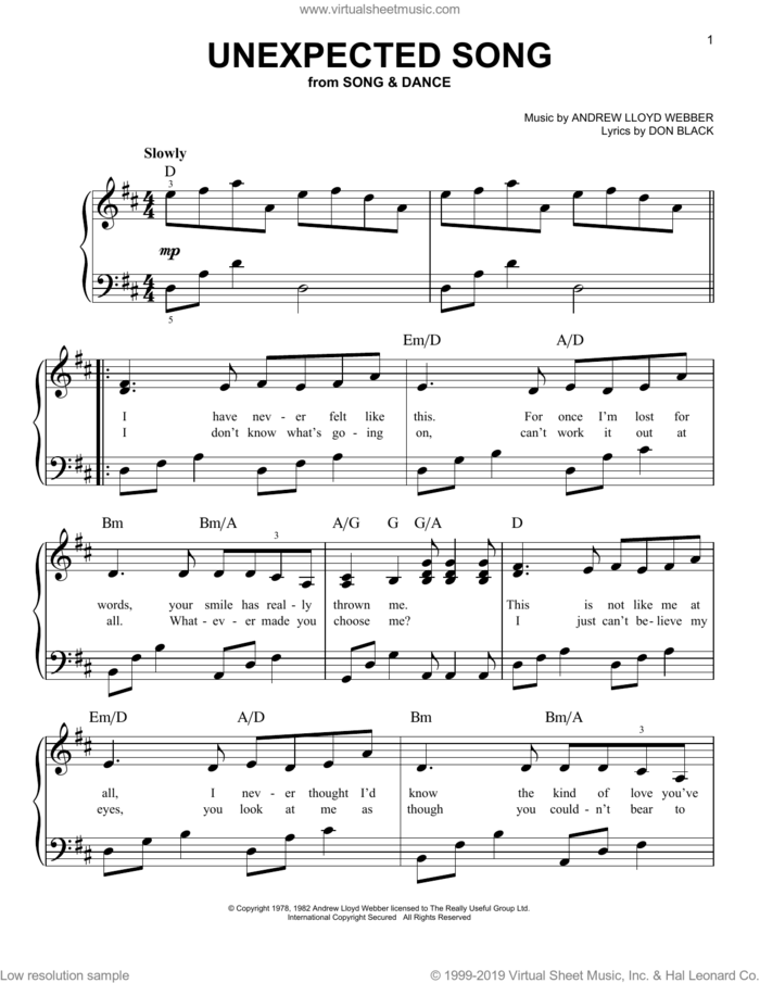 Unexpected Song (from Song and Dance) sheet music for piano solo by Bernadette Peters, Andrew Lloyd Webber, Don Black and Sarah Brightman, easy skill level