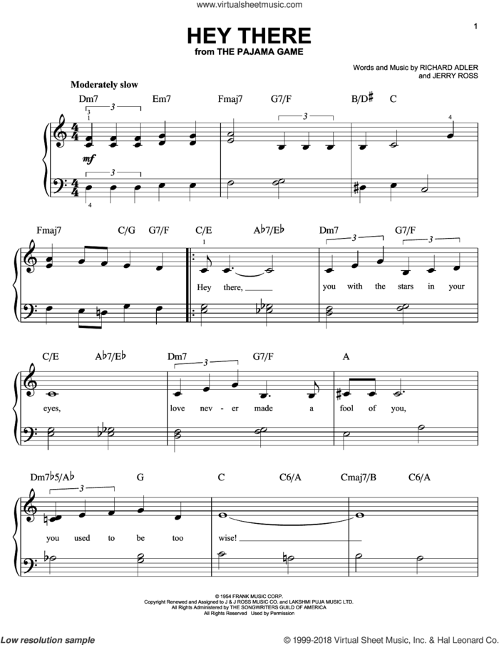 Hey There, (beginner) sheet music for piano solo by Richard Adler, Jerry Ross and Rosemary Clooney, beginner skill level