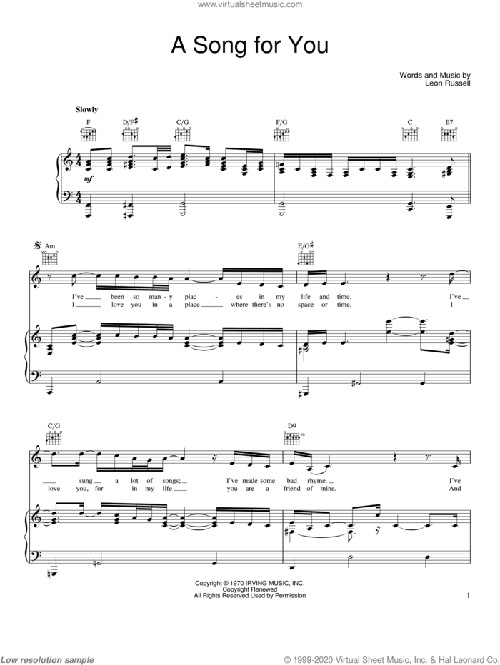 A Song For You sheet music for voice, piano or guitar by Joe Cocker and Leon Russell, intermediate skill level