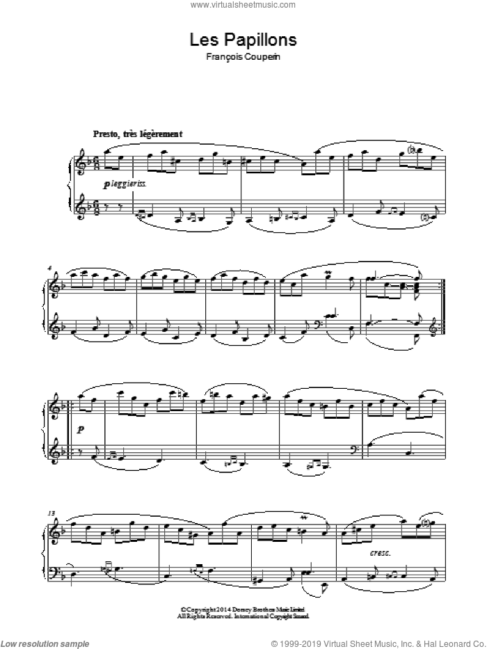 Les Papillons sheet music for piano solo by Francois Couperin, classical score, intermediate skill level