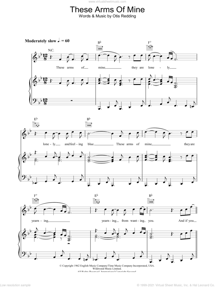 These Arms Of Mine sheet music for voice, piano or guitar by Otis Redding, intermediate skill level