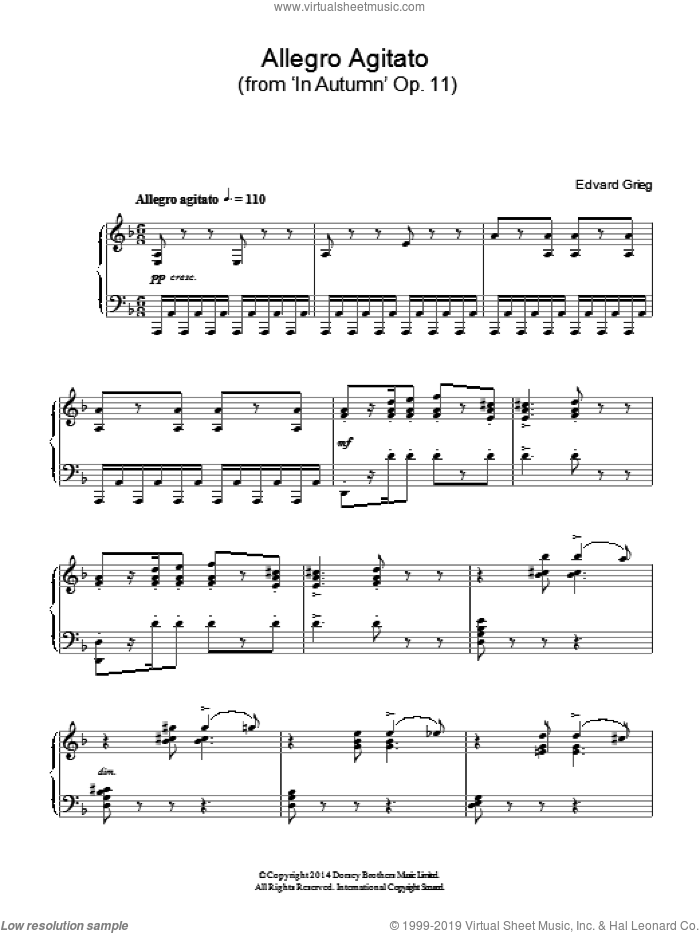 Allegro Agitato (from 'In Autumn' Op. 11) sheet music for piano solo by Edvard Grieg, classical score, intermediate skill level