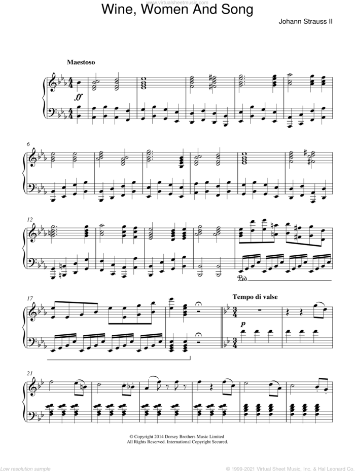 Wine, Women And Song sheet music for piano solo by Johann Strauss, Jr., classical score, intermediate skill level