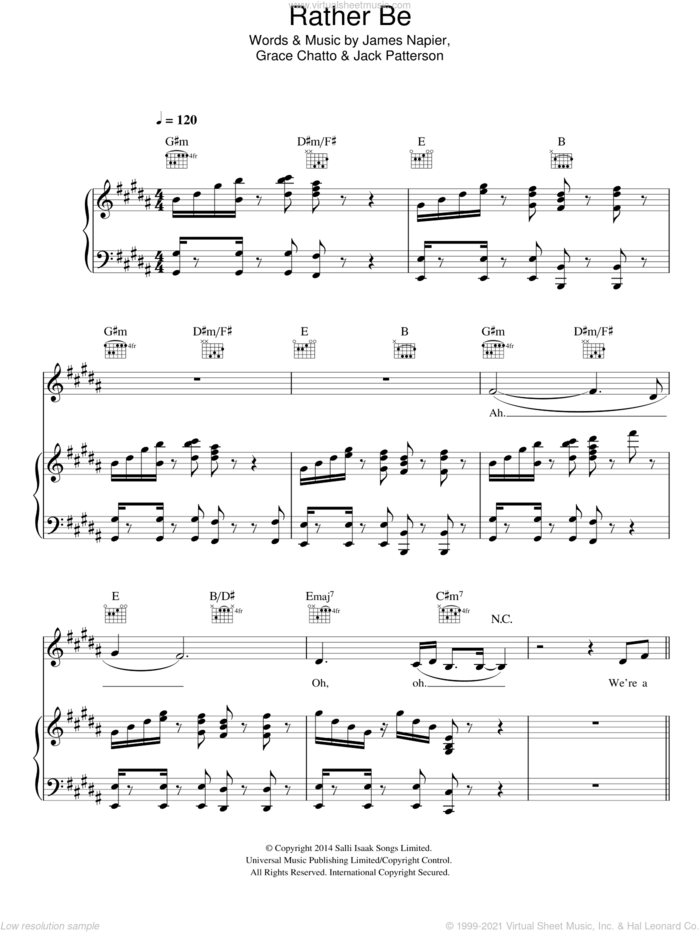 Rather Be sheet music for voice, piano or guitar by Clean Bandit, Derek Jones, Grace Chatto, Jack Patterson and James Napier, intermediate skill level
