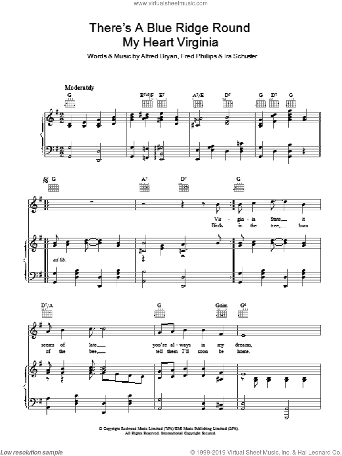 There's A Blue Ridge Round My Heart Virginia sheet music for voice, piano or guitar by Alfred Bryan, Fred Phillips and Ira Schuster, intermediate skill level