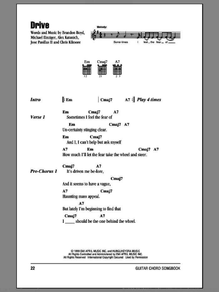 Drive sheet music for guitar (chords) by Incubus, Alex Katunich, Brandon Boyd, Chris Kilmore, Jose Pasillas II and Michael Einziger, intermediate skill level