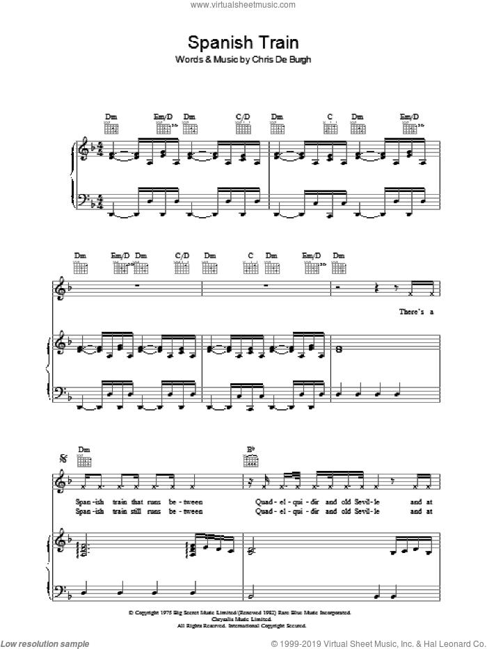 Spanish Train sheet music for voice, piano or guitar by Chris de Burgh, intermediate skill level