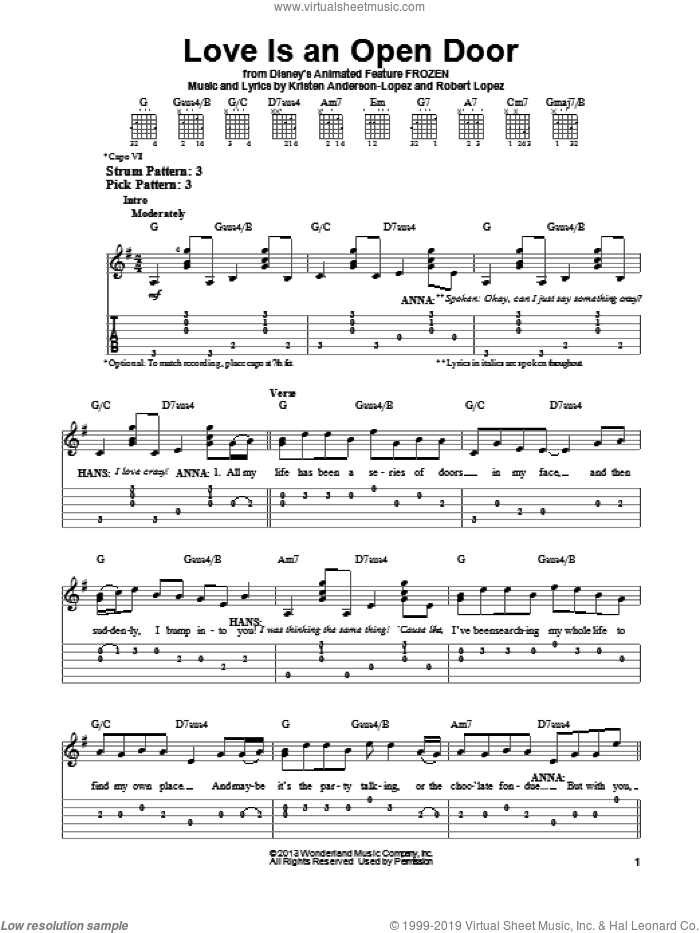 Love Is An Open Door (from Disney's Frozen) sheet music for guitar solo (easy tablature) by Kristen Bell & Santino Fontana, Kristen Anderson-Lopez and Robert Lopez, easy guitar (easy tablature)