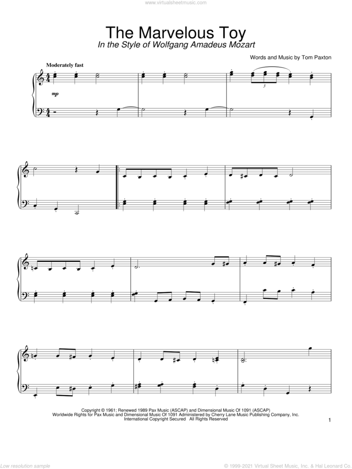 The Marvelous Toy (in the style of Mozart) (arr. David Pearl) sheet music for piano solo by Tom Paxton and David Pearl, intermediate skill level