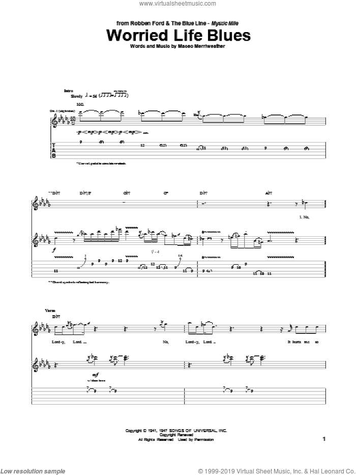 Worried Life Blues sheet music for guitar (tablature) by Robben Ford, Eric Clapton and Maceo Merriweather, intermediate skill level